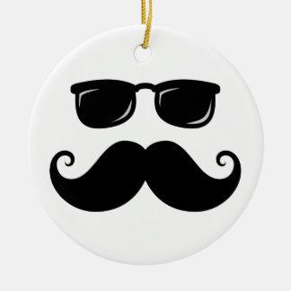 Funny mustache and sunglasses face round ceramic ornament