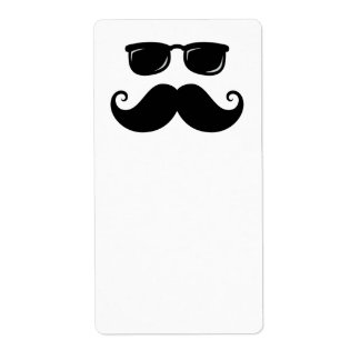 Funny mustache and sunglasses face shipping label