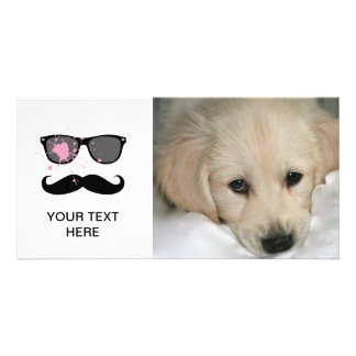 Funny Mustache and Sunglasses Photo Card Template