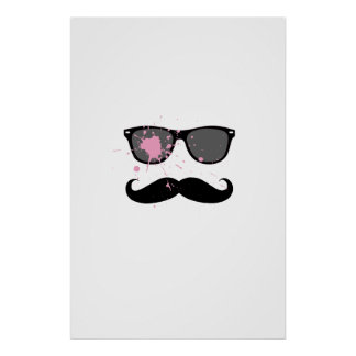 Funny Mustache and Sunglasses Print
