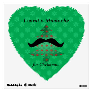 Funny mustache christmas gifts wall decal