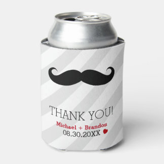 Funny Mustache Gay Wedding Favor Can Cooler