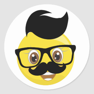 Funny Mustache & Glasses With Hair Emoji Stickers