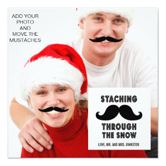 "Funny Mustache Holiday Greeting Photo Card 5.25"" Square Invitation Card"
