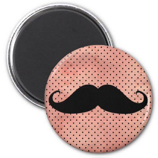 Funny Mustache On Cute Pink Polka Dot Background Refrigerator Magnet