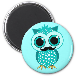 funny mustache owl 2 inch round magnet