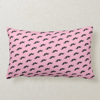 Funny mustache pink black pattern lumbar pillow