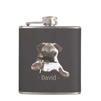 Funny Mustache Pug Dark Tan Flask
