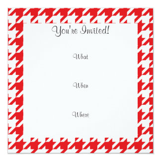 Funny Mustache; Red Houndstooth Personalized Invite