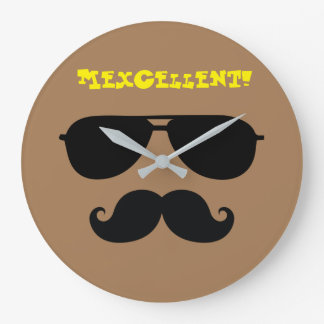 Funny mustache sun shades iconic mexican man quote clock