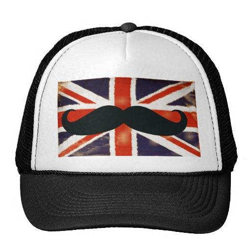 Funny Mustache Vintage Union Jack Trucker Hat