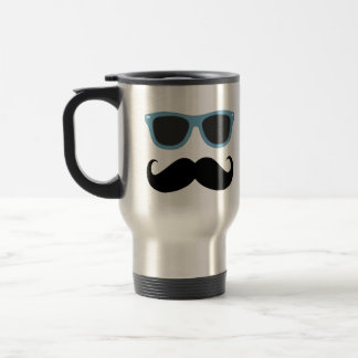 Funny Mustache with Blue Shades Mug