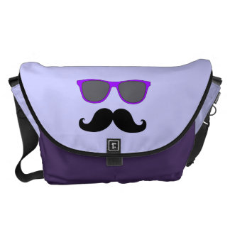 FUNNY MUSTACHE WITH PURPLE SUNGLASSES COMMUTER BAGS