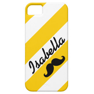 FUNNY MUSTACHE YELLOW STRIPES CASE FOR THE iPhone 5