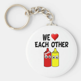 Funny Mustard Ketchup Couple Keychain