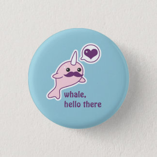 Funny Narwhal with Mustache 1 Inch Round Button