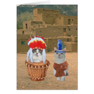 Funny Native American Indian Kitty Valentine Card