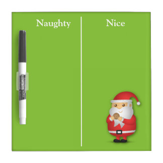 Funny Naughty or Nice with Cute Santa Dry Erase Board