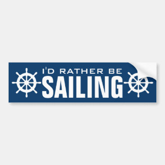Funny nautical ship helm bumper sticker for sailor