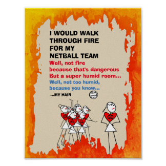 Funny Netball Team Themed Quote Poster