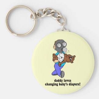 Funny new dad basic round button keychain
