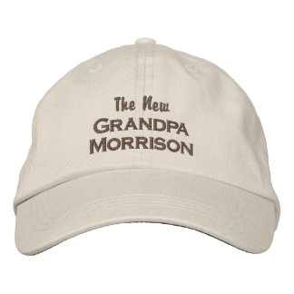 Funny New Grandpa New Baby Custom Last Name Embroidered Hat