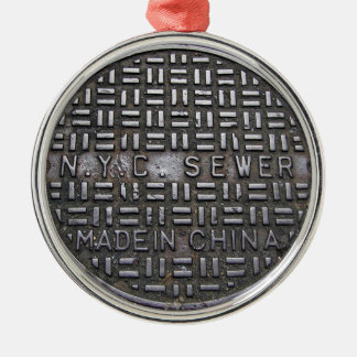Funny New York City Sewer Humourous Novelty Photo Metal Ornament
