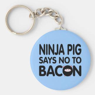 Funny Ninja Pig Says No to Bacon Keychain