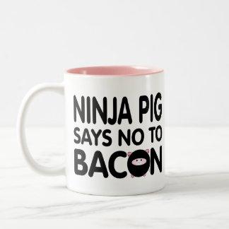 Funny Ninja Pig Says No to Bacon Two-Tone Coffee Mug
