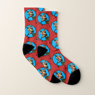 FUNNY NINJA PIZZA GRAPHIC PAIR OF RED SOCKS