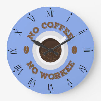 Funny No Coffee No Work Kitchen Wall Clock