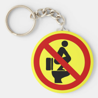 Funny NO Feet on the Seat ⚠ Thai Sign ⚠ Basic Round Button Keychain