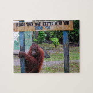 Funny No Litter Sign with Orangutan Puzzle