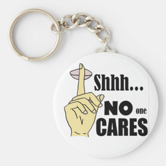 Funny No One Cares Cartoon Basic Round Button Keychain
