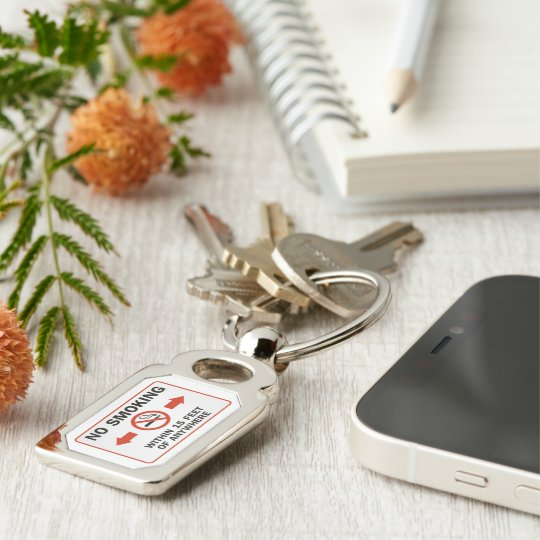 Funny No-Smoking Sign Silver-Colored Rectangle Keychain