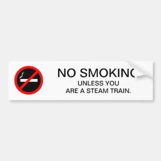 Funny NO SMOKING Sign Steam Trains Bumper Sticker