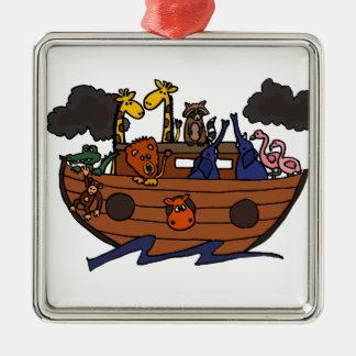 Funny Noah's Ark Cartoon Metal Ornament