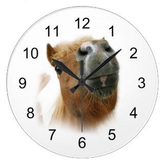 Funny nosy horse large clock