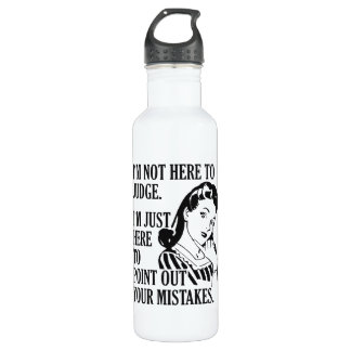 """Funny """"Not Here To Judge"""" custom name water bottle"""