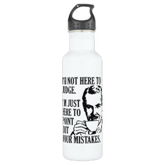 "Funny ""Not Here To Judge"" custom name water bottle"