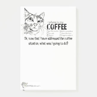 Funny Notepad Cat and Coffee Situation