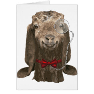 Funny Nubian Goat With Monocle Card
