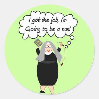 "Funny Nun Cards ""Got The Job!"" (Gail Gabel) Classic Round Sticker"
