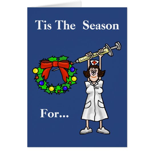 Funny Nurse With Needle Christmas Card