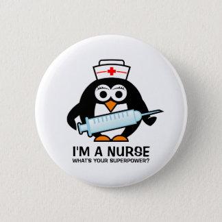 Funny nursing buttons with cute penguin nurse