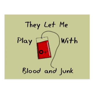 """Funny Nursing Student Gifts """"Blood and Junk"""" Postcard"""