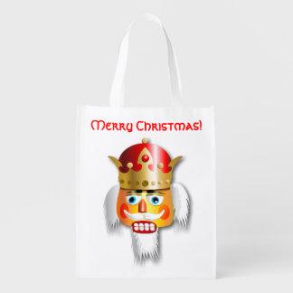 Funny Nutcracker King Cartoon Reusable Grocery Bag