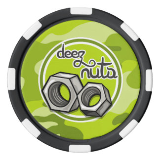 Funny Nuts; bright green camo, camouflage Poker Chips