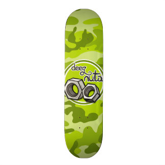 Funny Nuts bright green camo camouflage Skate Deck
