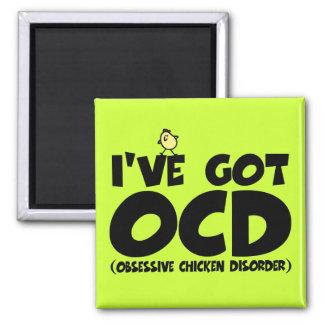 Funny OCD chicken Square Magnet